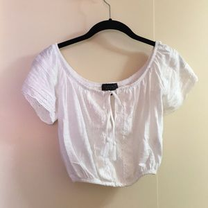 Topshop cropped lace inset white top size US4